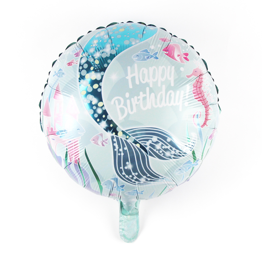 Event & Party Blue Happy Birthday Party Mermaid Theme Balloons Princess Doll Toy Holiday Cartoon Decoration Foil Balloon Auto Seal To Ensure Smooth Transmission
