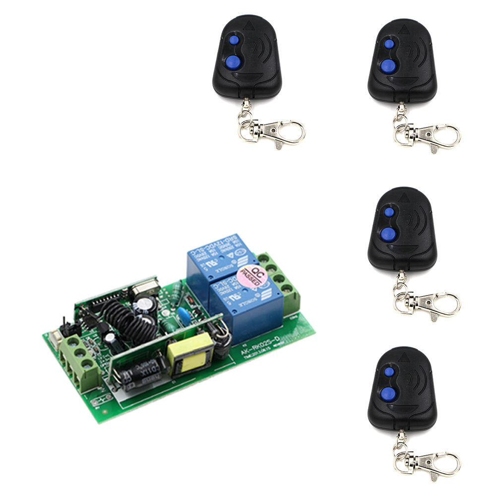 Newest AC85V 250V 1000W 2 Channels Relay 2 Buttons ON OFF Transmitter RF Smart Wireless Remote Control Switch For Light Motor