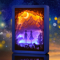 3D Paper Carving Light Lovers Night Lights ABS Frame LED Night Lamp USB Colorful Table Light For Valentine's Day Decor Lamp Gift