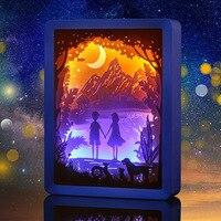Venta 3D grabado en papel luz amantes de la noche luces ABS marco LED lámpara de noche