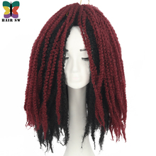 HAIR SW Malibu Afro Kinky Curly Twist Crochet Braids Synthetic Hair Extension 18Inch Kanekalon Bulk Hair 30 Stands 10colors