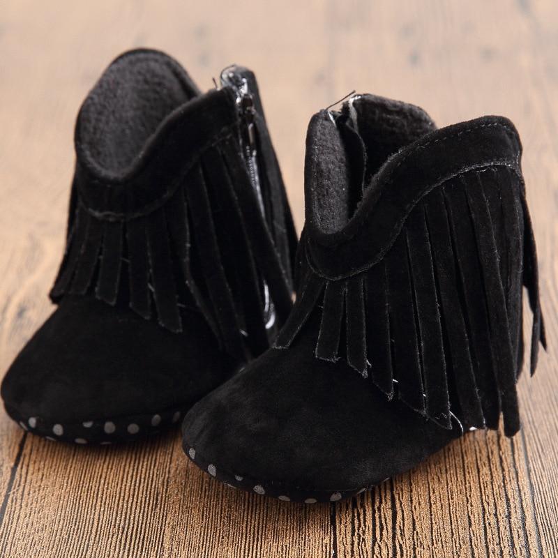 8eb547330d5fc Black Newborn Fashion Infant Toddler Fringe Boots Booty Girl Kids Prewalker  Soft Bottom Anti-slip Footwear Winter Snow Shoes