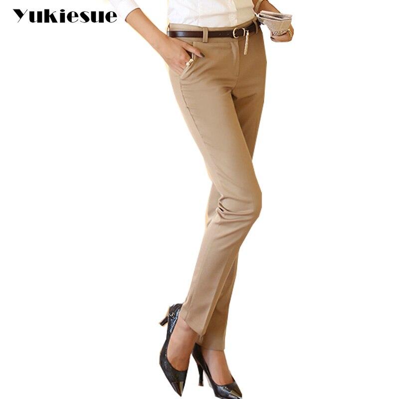High waist   pants     capris   women 2017 autumn OL office work wear formal suit   pants   female trousers skinny bottoms pantalon mujer