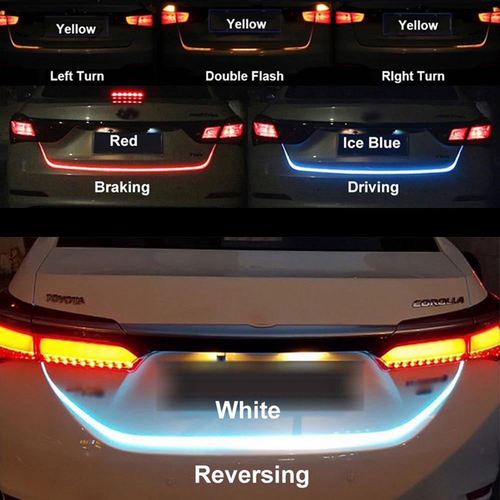 120cm 150cm Ice Blue Red Yellow White LED Strip Rear Trunk Tail Light Dynamic Streamer Brake Turn Signal Reverse Warning Lights