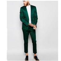 Fashion classic men's suit green lapel single breasted men's prom dress and business office suits (jacket + pants) custom made