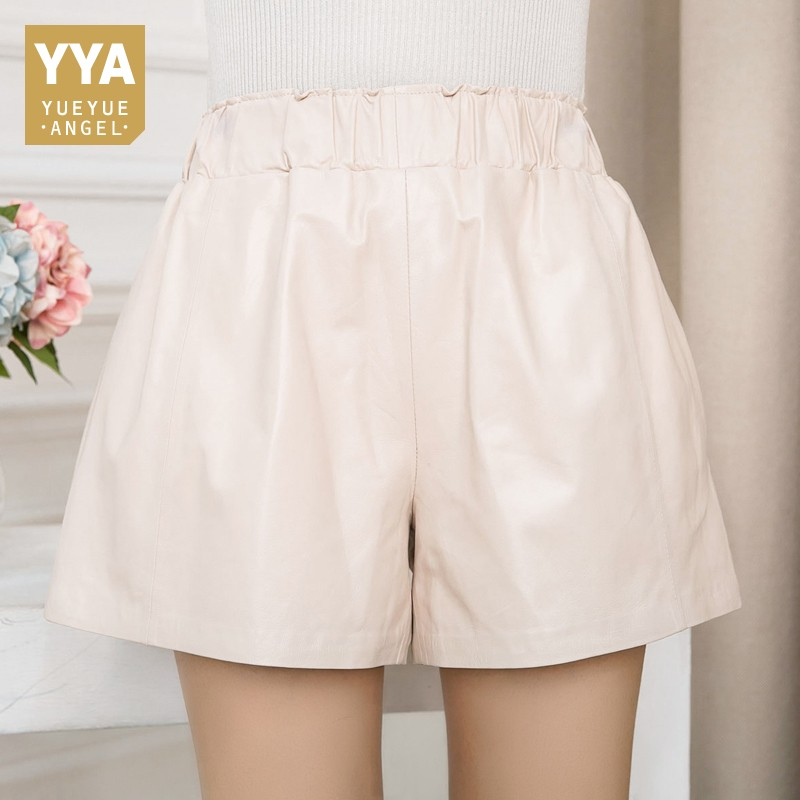 Haute Qualité Femmes Taille Élastique Jambe Large Pantalon Court 8 Couleurs décontracté Streetwear Short Slim Fit En Peau De Mouton En Cuir Véritable Short