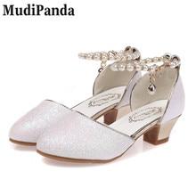 MudiPanda Girls Sandals 2018 nya pärlskor barn höga klackar student dans skor / prestanda skor storlek 28-38 Pink White