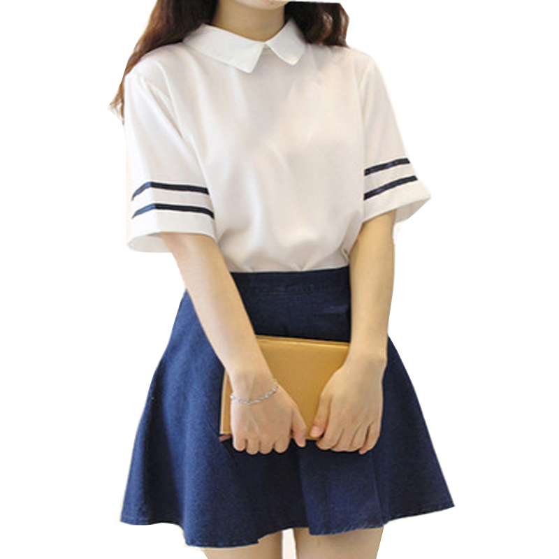 White School Uniforms Girls Dress Plus Sizes Korean Trend Tracksuit College Students Dresses Cosplay Cloths Shirt+Skirt