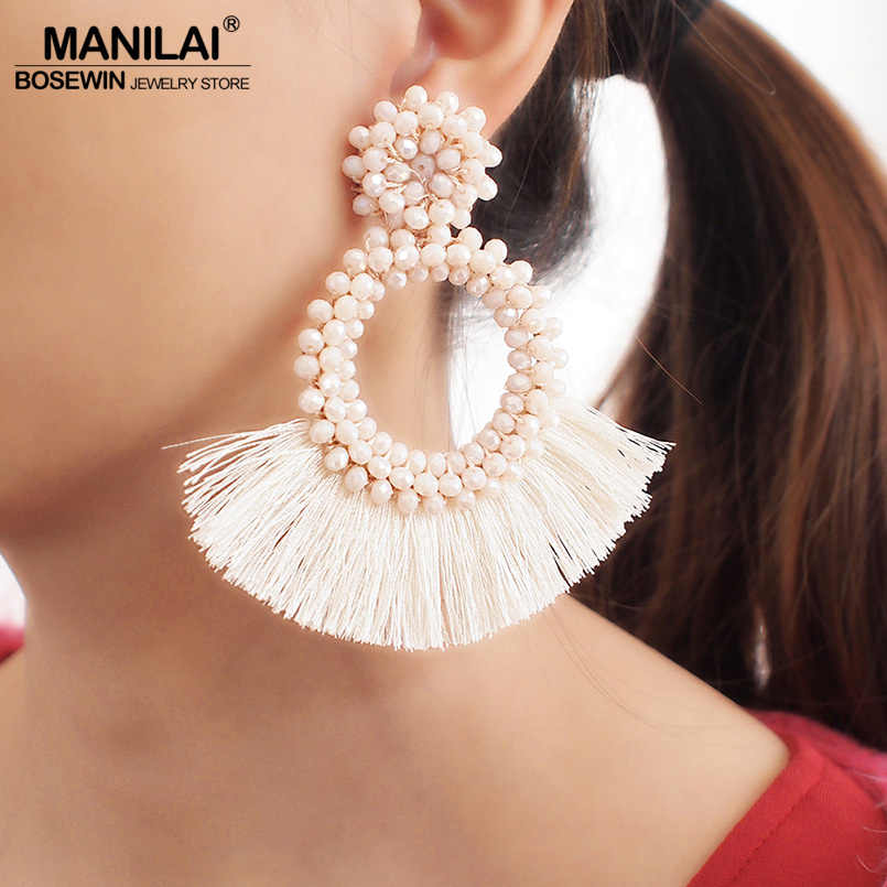 MANILAI Bohemia Tassel Earrings For Women Statement Fringed Earrings Round Crystal Drop Dangle Earrings Wedding Party Jewelry