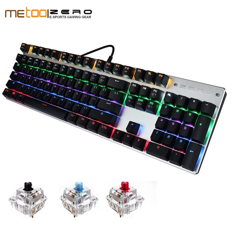 2019 METOO ZERO Russian English Spanish 6 Color Backlight Gaming Keyboard Teclado Gamer Floating