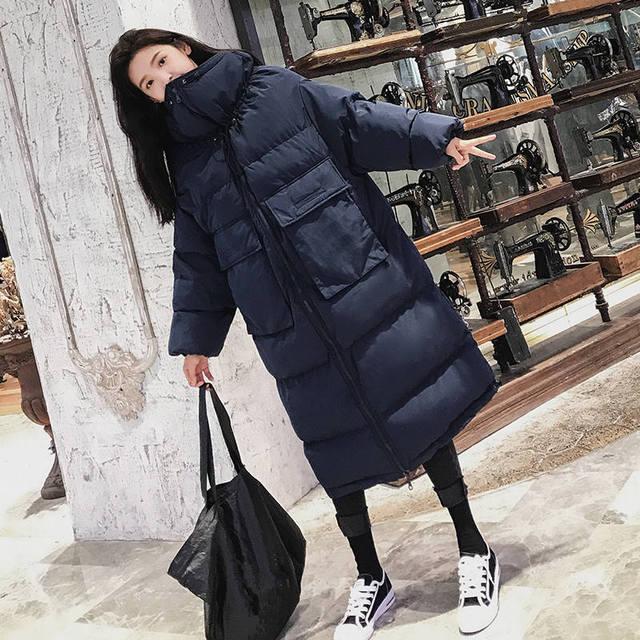 Down Cotton Women Winter Jacket BF Style Stand Collar Long Parka Women Winter Coat Plus Size Oversized Coats Female Jacket C5114 2