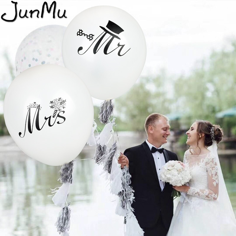Helium Quality or Air 10 Just Married Wedding Balloons