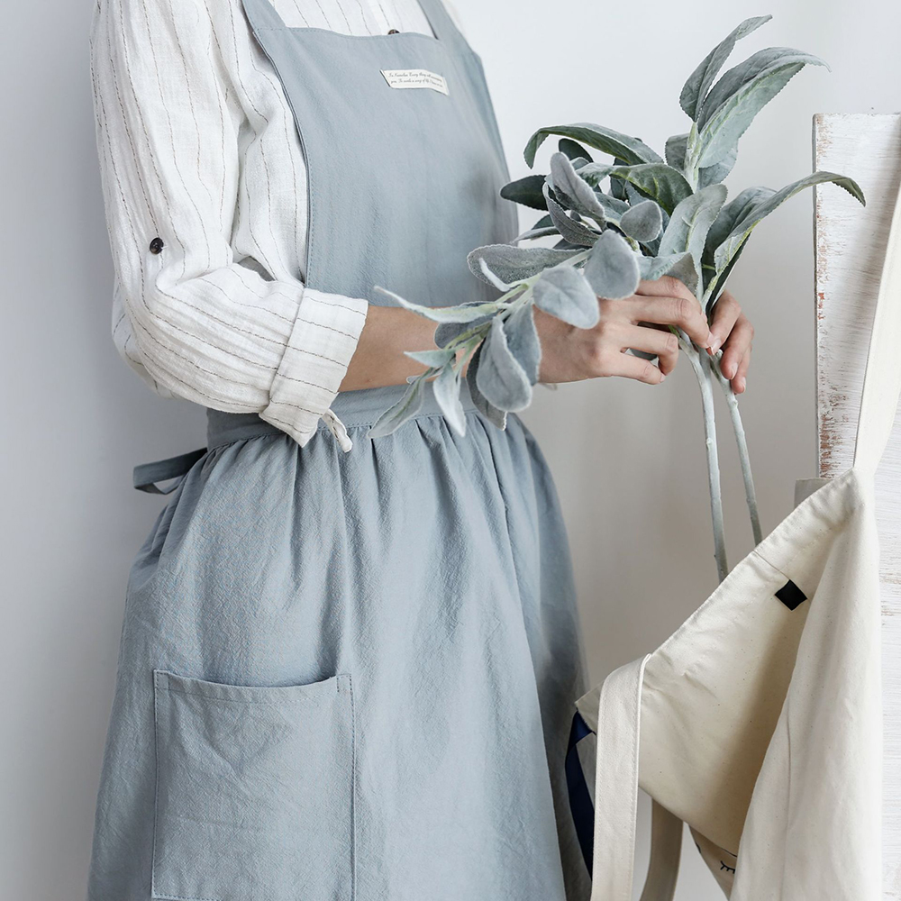 758171ff54 1pc Fashion Women Bib Apron Cotton Linen Sleeveless Pinafore Dress Home  Cooking Florist Cute Cleaning Apron High Quality-in Aprons from Home    Garden on ...