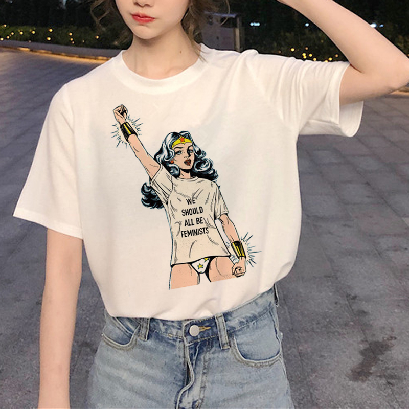 New Feminist T Shirts Women Rights GRL PWR Harajuku Ullzang T-shirt Girl Powers 90s Graphic Tshirt Korean Style Top Tees Female