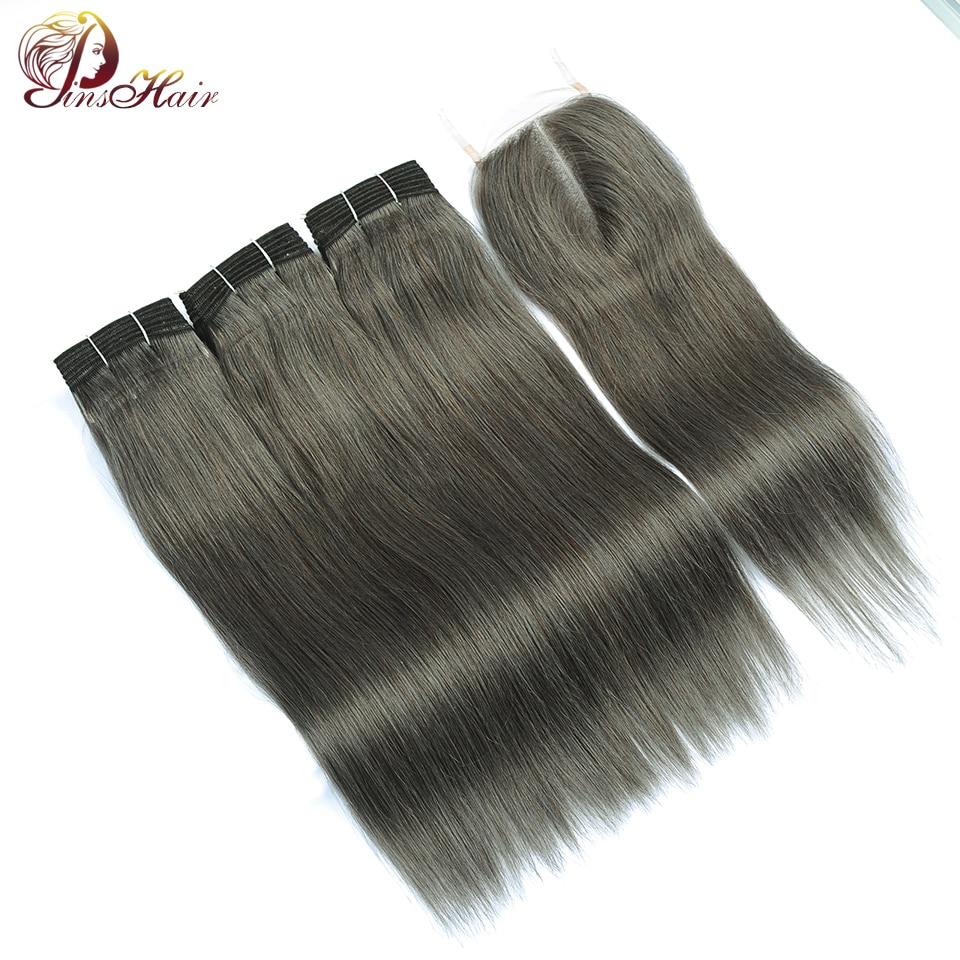 Lilen Grey Bundles With Closure Brazilian Hair Weave 3 Gray Brown Bundles With Closure Straight Hair Pinshair Human Hair Nonremy