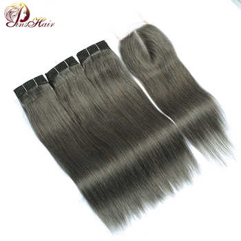 Lilen Grey Bundles With Closure Brazilian Hair Weave 3 Gray Brown Bundles With Closure Straight Hair Pinshair Human Hair Nonremy - DISCOUNT ITEM  53% OFF All Category