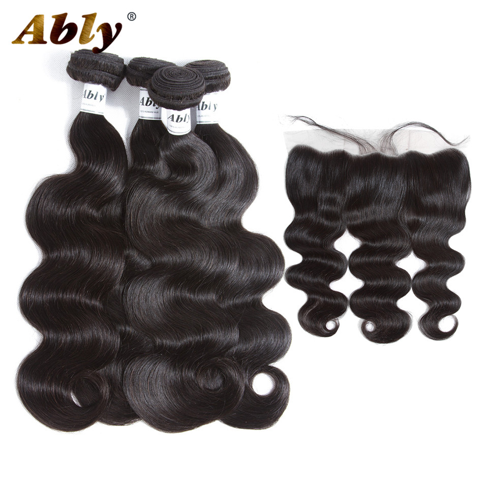 Ably Indian 100% Remy Body Human Hair Weft Weave With Frontal Pre Plucked Lace Frontal Closure With 4 Body Human hair Bundles