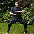 High Quality Black Summer Chinese Men's Kung Fu Tai Chi Uniform Cotton Linen  Wu Shu Suit M L XL XXL XXXL 2526-3