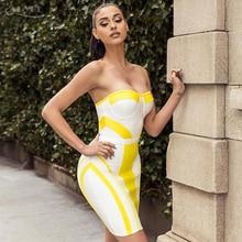 Adyce 2018 New Summer Style Women Bandage Dress Strapless Yellow&White Color Mini Length Dress Vestidos Celebrity Party Dresses