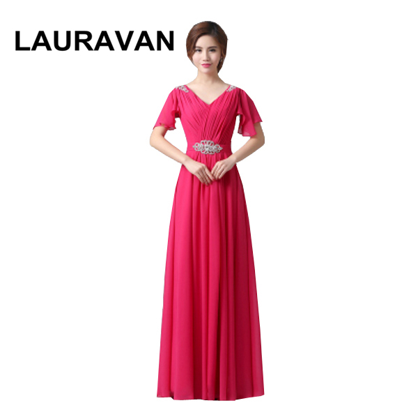 Plus Size Long Chiffon Hot Pink Fuchsia Red Blue V Neck Bridesmaid Dress Brides Maid Party Dresses Gown For Wedding Guests