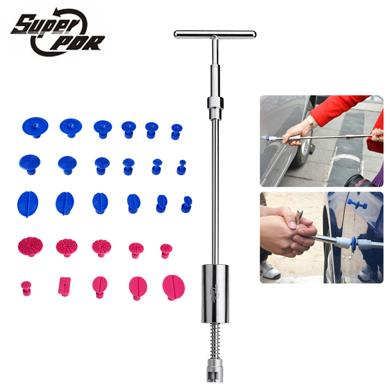 Super PDR slide hammer car dent repair tools kit 1 pcs 2 in 1 T shape dent puller 28pcs glue tabs use for auto body dent removal heavy duty pdr tools car dent slide hammer auto dent repair dent remover t bar 2 in 1 dent puller hammer gift 24x pulling tabs