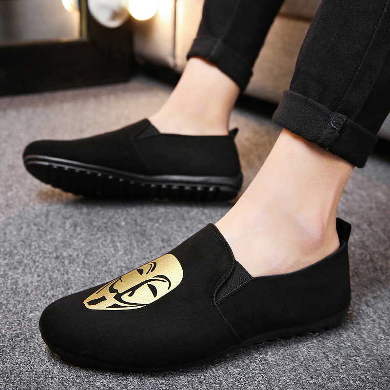 Fine Zero 2018 Men spring summer flock human face Slip on Dress Business Shoe Male Soft Moccasins Loafers jean Driving Flats