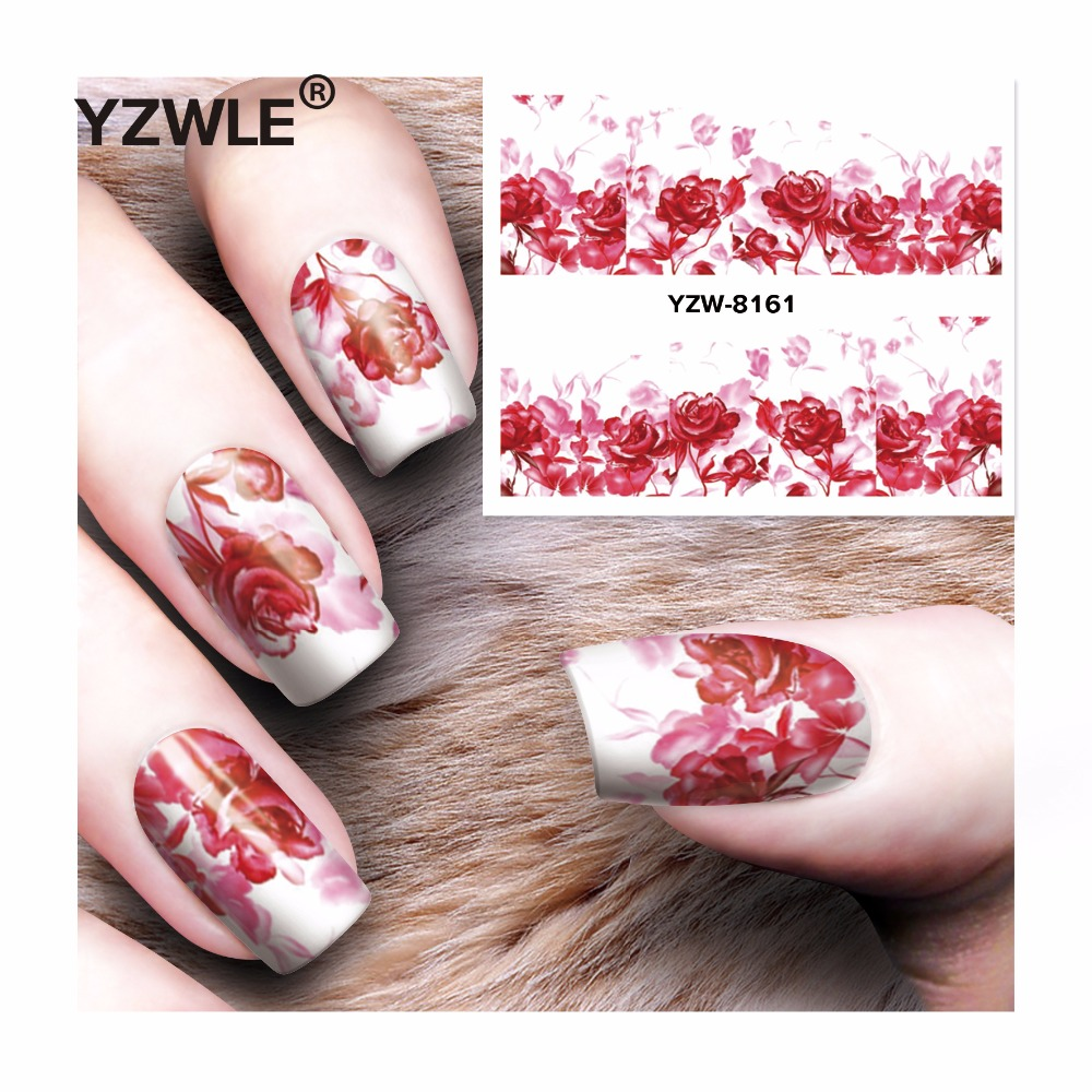 YZWLE 1 Sheet DIY Decals Nails Art Water Transfer Printing Stickers Accessories For Manicure Salon  YZW-8161 yzwle 1 sheet hot gold 3d nail art stickers diy nail decorations decals foils wraps manicure styling tools yzw 6015