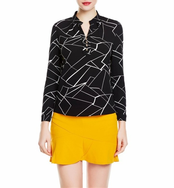 f0e74794984927 Free Shipping 4XL Big Size Women's Black White Geometric Patterns V-neck  Collar Casual Chiffon Blouse Shirt 20180040
