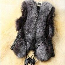 Vest Women Faux Fur Jackets 2017 Fashion High Quality Fur Collar Winter Warm Waistcoats Plus Size Outerwear Sleeveless Coat z20
