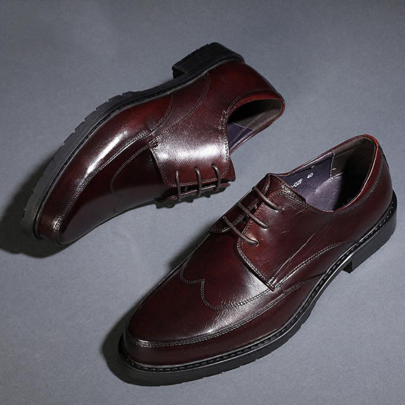 1a58ea0c96 Nuevos vino Marrón Casual 2019 Negro Negro Marca Tinto Zapatos Italiano  Hombres De Cuero Los Diseñador ...