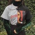 NYOOLO Новая зимняя Harajuku буквы вышивка лоскутное футболка + водолазка бархат Дна рубашки 2 шт комплект одежды женщины