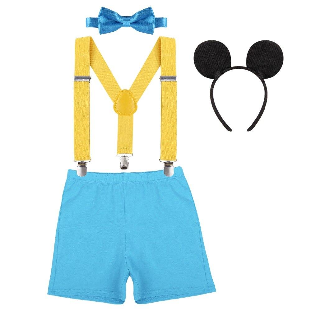 Baby Jungen Mickey Mouse 1 Geburtstag Kostüm Fliege Hosenträger Stirnband Set