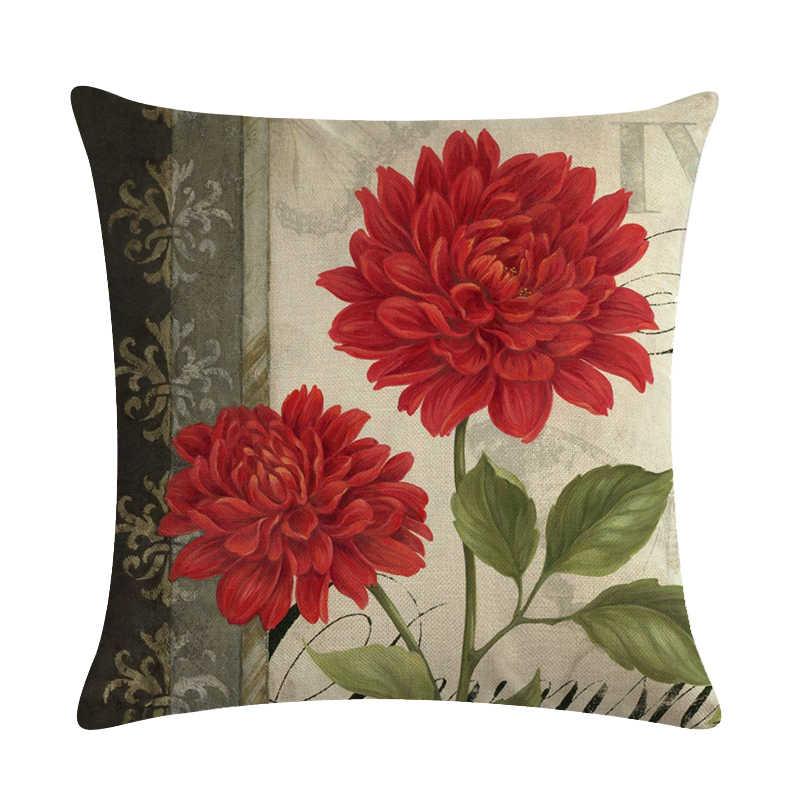 45 cm * 45 cm Antique Rose muster leinen/baumwolle dekokissen covers couch kissenbezug home dekorative kissen