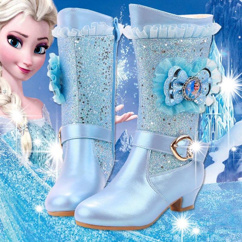 2018 new girls high-heeled boots princess lace Aisha Frozen students warm high boots стоимость
