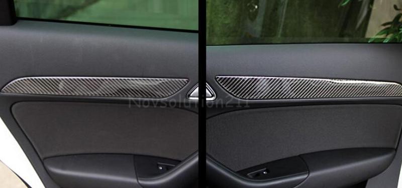 Real Carbon Fiber Interior Door Stripe Trims For Audi Q3 8U 2012 -2015 new for audi q3 8u 2012 2015 true carbon inner door armrest stripe lid trim 4pcs