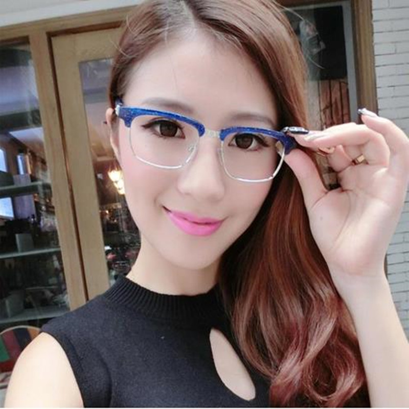 Men Women No Degree Semi-rimless Glasses Frames Classic Popular Resin for Ladies Decorative Reading Glasses Frames