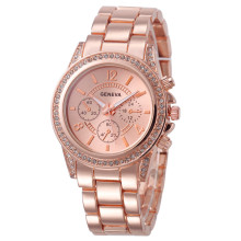 Lovesky 2018New Fashion Faux Chronograph Plated Classic Geneva Quartz Ladies