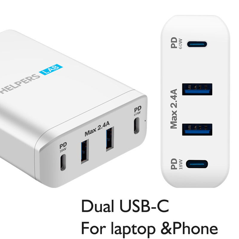 Dual Type C PD Travel Charger Adapter with 2 USB C PD 2 USB 3 0