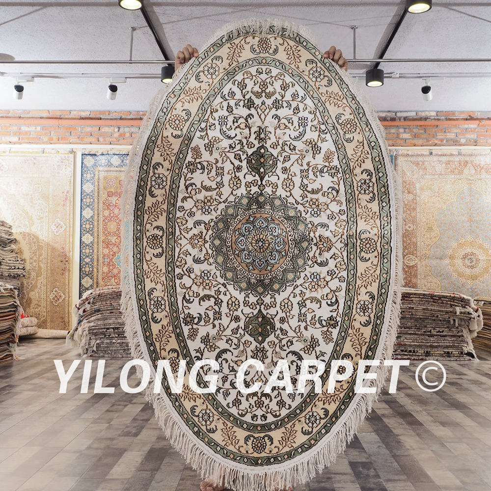 YILONG 3x5 Antique silk oval design oriental carpet hand knotted persian rug (YHW328B3x5)YILONG 3x5 Antique silk oval design oriental carpet hand knotted persian rug (YHW328B3x5)