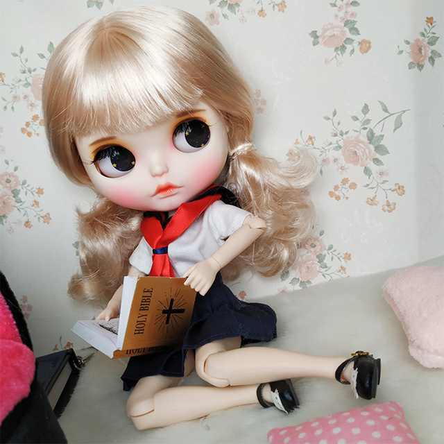 Blyth Doll 1/6 Joint Body hand painted matte face white skin Cute student style blond hair suit DIY BJD SD toy gift AB hand set