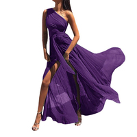 Sexy Purple One Shoulder Chiffon Maxi Dress Summer High Split Beach Long Dress Solid Elegant Ladies Party Dress
