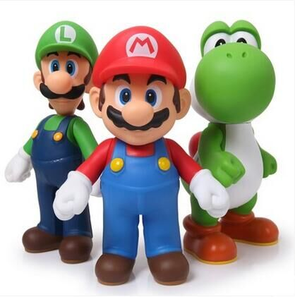 Free Shipping Super Mario Bros Mario Yoshi Luigi PVC Action Figure Collection Model Toys Dolls 3pcs/set SMFG225 original box sonic the hedgehog vivid nendoroid series pvc action figure collection pvc model children kids toys free shipping