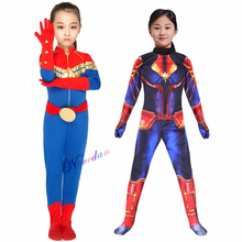 Kids Captain Marvel Costume Supergirl Cosplay Zentai Suit Marvel Legends Carol Danvers Avengers Bodysuit Halloween Costumes