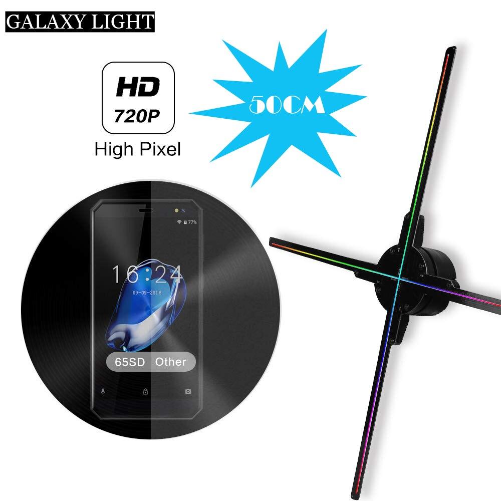 Lumière de ventilateur d'hologramme de 50 CM avec le contrôle de wifi 3D affichage de publicité d'hologramme ventilateur LED imagerie holographique pour la station de magasin de vacances