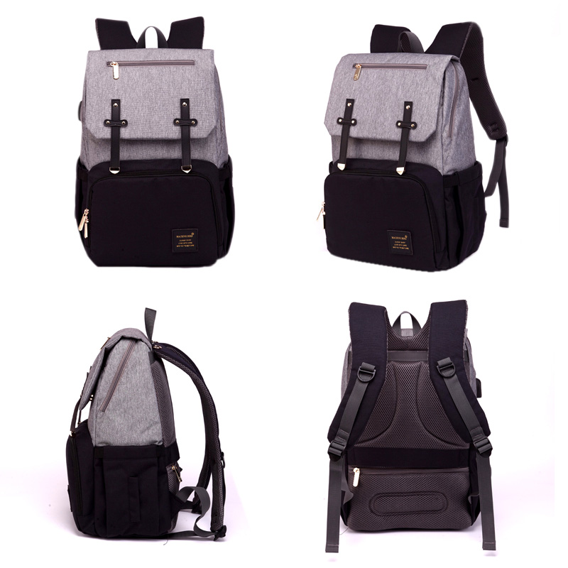 HTB1aGQSaNrvK1RjSszeq6yObFXap Diaper Bag Mummy Daddy Backpack Baby Stroller Bag Waterproof Oxford Handbag Nursing Nappy Kits Maternity Bag USB Warmer Holder