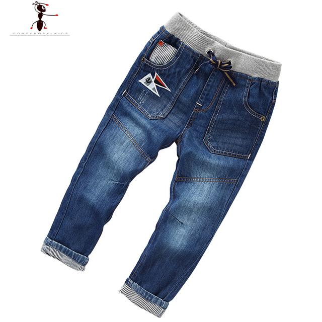 Encantador Lindo ocasional Calle Casa Muchachos Pantalones Vaqueros Pantalones Rectos de Cintura Elástica Niños 2405