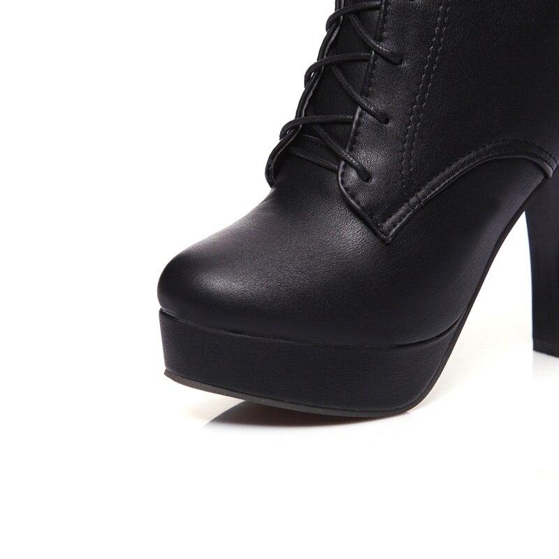 2018 Alto Botas white Black Nuevo Moda Punta Plataforma Cordones Zapatos Hebilla Mujer Invierno Mediados Ternero Con Egonery Estilo Tacón De Redonda fwqYSS