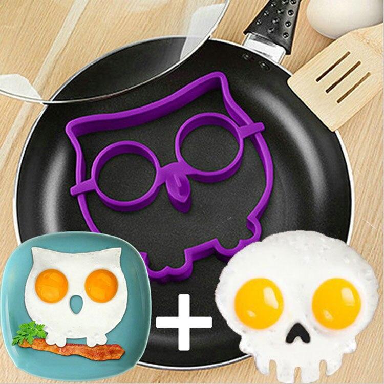 Силиконовая форма для яиц кольцо, фиолетовая Сова в форме яйца кольцо и черный череп в форме яйца кольцо набор из 2 шт
