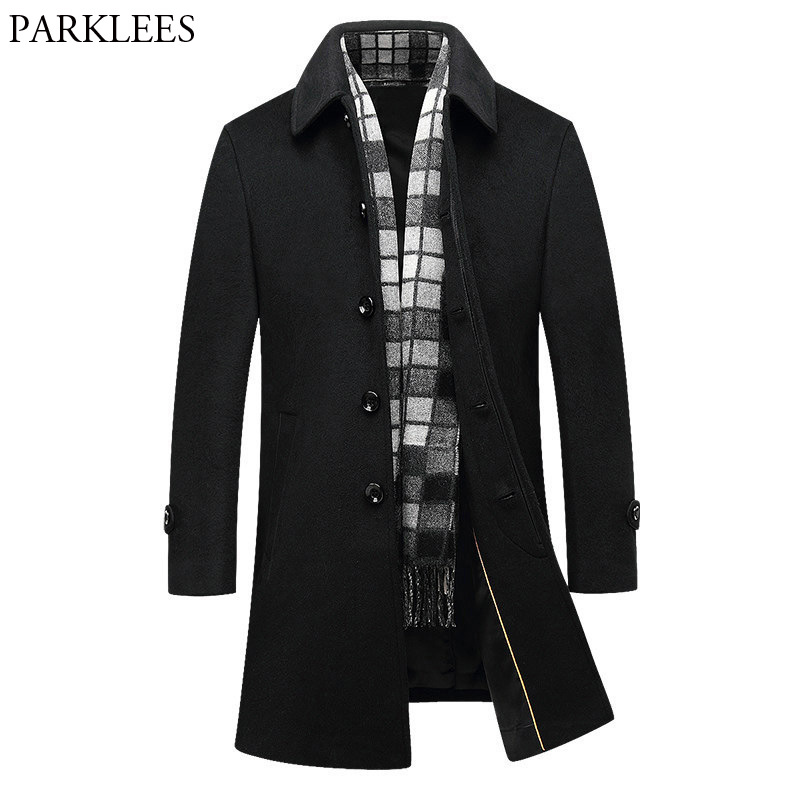 Black Wool Trench Coat Men 2017 Winter Mens Long Coats Casual Slim Fit Men Overcoat Windbreaker Single Breasted Male Peacoat 4XL