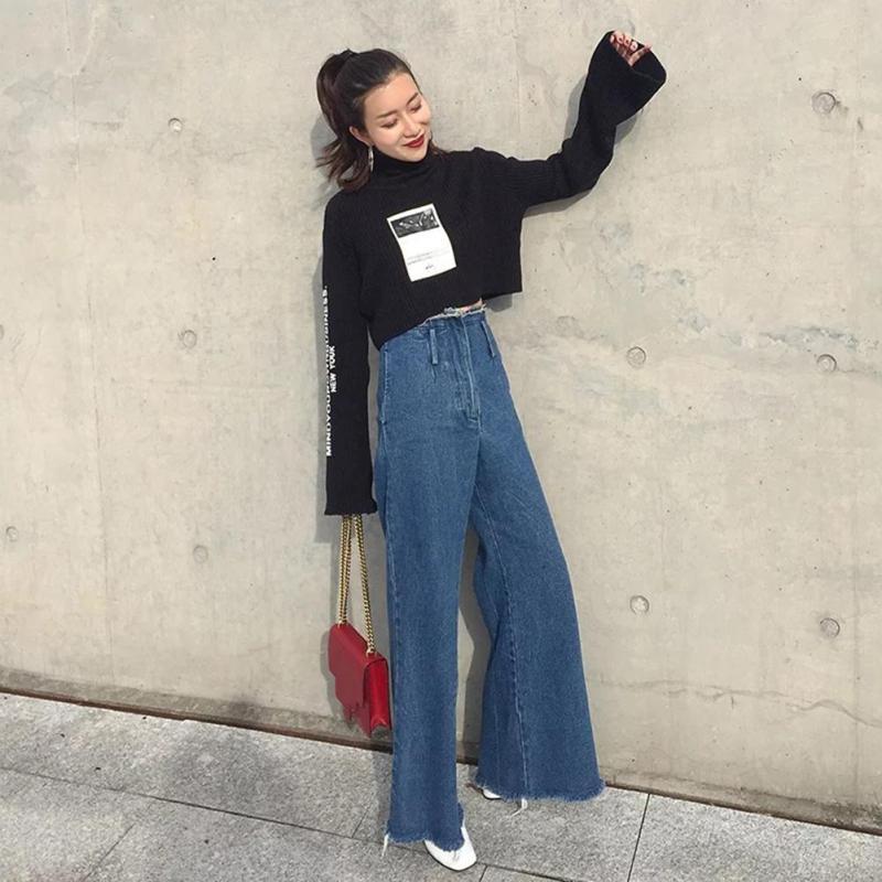 2017 New Street Pants Vintage Loose Cowboy Trousers High Waist Jeans Women Female Ankle- length Pant B2 цены онлайн